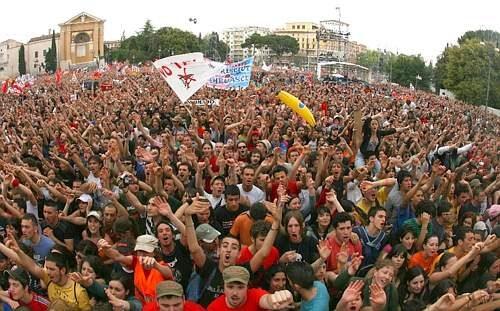 I festeggiamenti del primo maggio in piazza di San Giovanni in Laterano a Roma